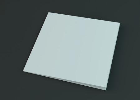 Folleto en blanco, revista, maqueta de folleto aislado sobre fondo oscuro. Representación 3D