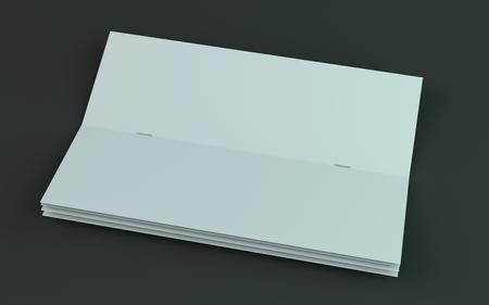 Blank brochure, magazine, booklet mockup isolated on dark background. 3D rendering Stock Photo