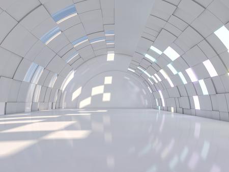 Fondo astratto di architettura moderna, interno vuoto dello spazio aperto. Rendering 3D