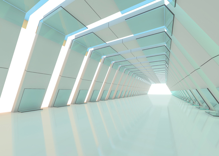 Abstract modern architecture background, empty open space interior. 3D rendering Reklamní fotografie