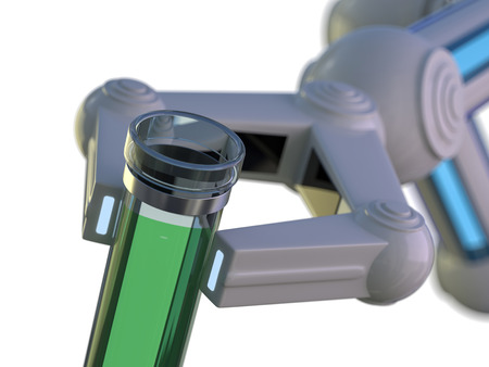 Test tube in robot arm. robot manipulates chemical tubes. 3D rendering