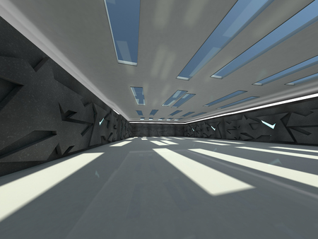 Abstract modern architecture background, empty open space interior. 3D rendering Stock Photo