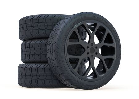 Winter set tires with hard protector. 3D rendering