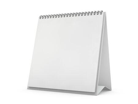 Empty square desk calendar on table. Mockup design concept. 3D rendering