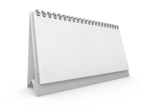 Calendrier de bureau horizontal vide sur table. Concept de conception de maquette. rendu 3D