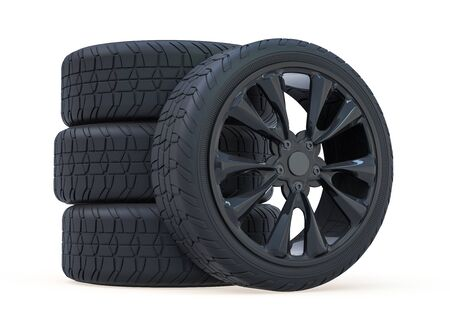 Winter set tires with hard protector. 3D rendering Фото со стока