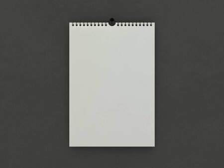 Blank design vertical calendar template with soft shadows. 3D rendering