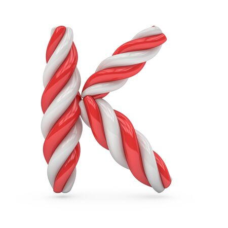 Uppercase candy and sugar font. Letter K. 3D rendering
