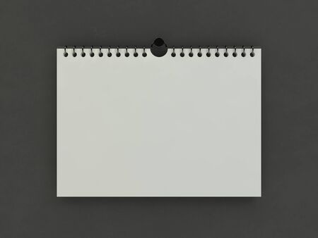 Blank design horizontal calendar template with soft shadows. 3D rendering