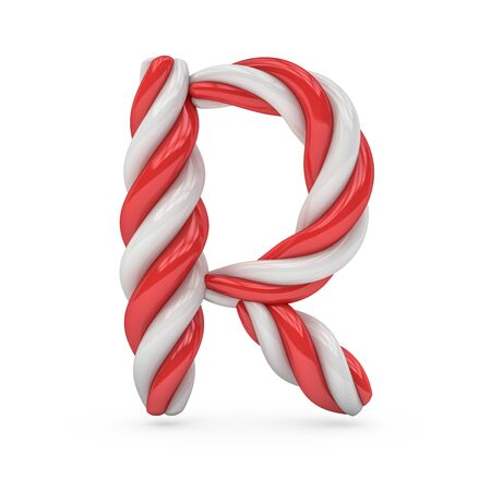 Uppercase candy and sugar font. Letter R. 3D rendering Stock Photo