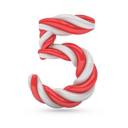 Bonbon- und Zuckerschrift in Großbuchstaben. Ziffer fünf. 3D-Rendering