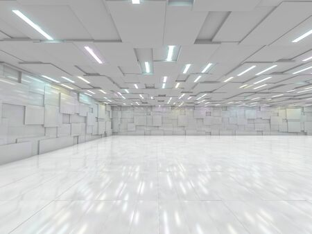 Abstract modern architecture background, empty open space interior. 3D rendering Stockfoto