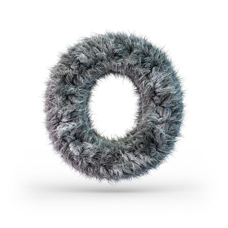 Uppercase fluffy and furry gray font. Letter O. 3D rendering Imagens