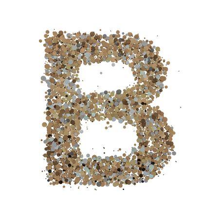Light gold letter B on the white background. 3D rendering