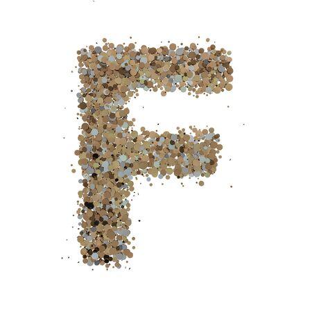 Light gold letter F on white background. 3D rendering