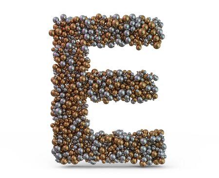 Light gold letter E on the background. 3D rendering Foto de archivo