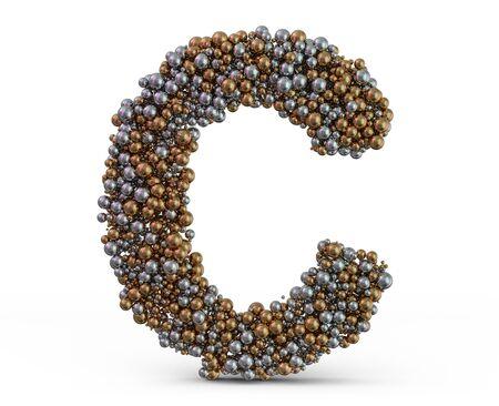 Light gold letter C on the background. 3D rendering 写真素材