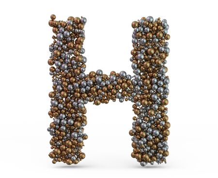 Light gold letter H on the background. 3D rendering Фото со стока
