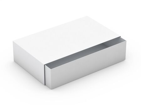 White box mock up isolated on white background. 3D rendering 스톡 콘텐츠