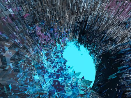 Abstract background with glass and glowing core. 3D renering