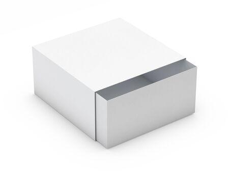 Maquette de boîte blanche isolée sur fond blanc. rendu 3D