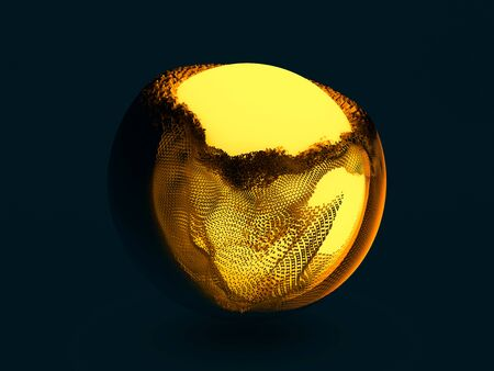 Abstract background with sphere and glowing core. 3D renering 스톡 콘텐츠