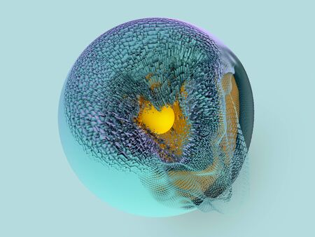 Abstract background with sphere and glowing core. 3D renering Stockfoto