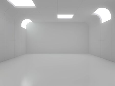 Abstract modern architecture background, empty open space interior. 3D rendering Imagens