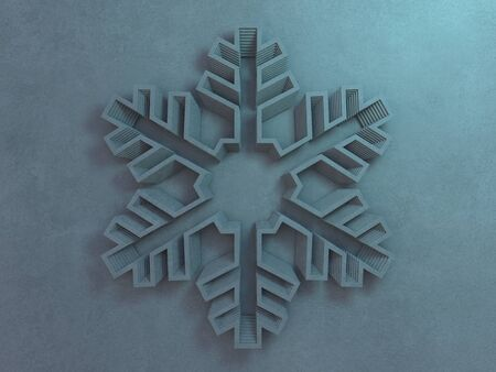 Texture gray wall with different stripes in the form of snowflakes. 3D rendering 写真素材