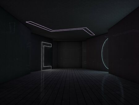 Abstract modern architecture background, empty open space interior. 3D rendering Imagens - 132109596