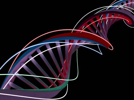 DNA chain. Abstract scientific background. Beautiful illustraion. Biotechnology, biochemistry, genetics and medicine concept. 3D rendering
