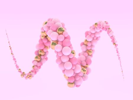 Abstract colorful swirled balls. Pink Candies fly in zero gravity. Creative background. 3D rendering 写真素材