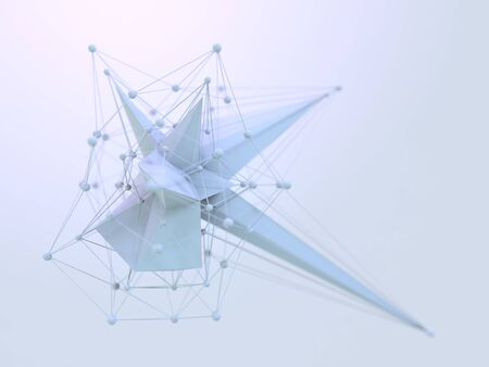 Abstract polygonal space low poly background with connecting dots and lines. Connection structure. Polygonal background. 3D rendering