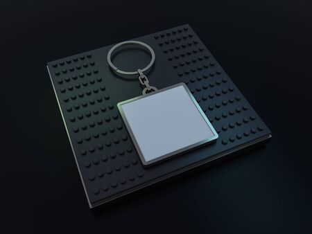 Luxury square keychain with space for text or logo. 3D rendering 写真素材