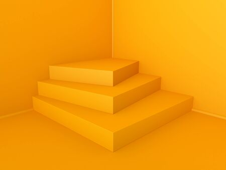 Beautiful wall and empty podium. 3D rendering