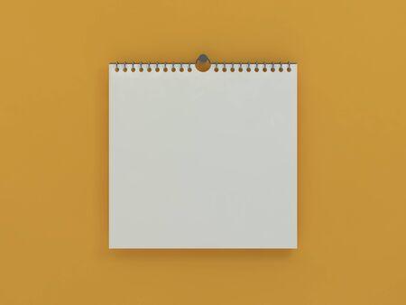 Blank design square calendar template with soft shadows. 3D rendering Banco de Imagens