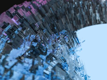 Abstract background with glass and glowing core. 3D rendering 写真素材
