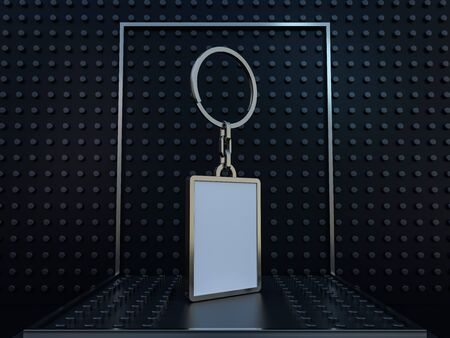 Luxury rectangle keychain with space for text or logo. 3D rendering
