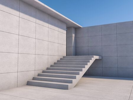 Granite stairs and a concrete wall. 3D rendering