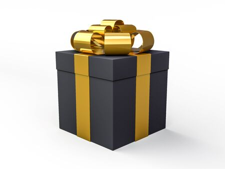 Christmas and New Year, gift black box background. 3D rendering Stock Photo