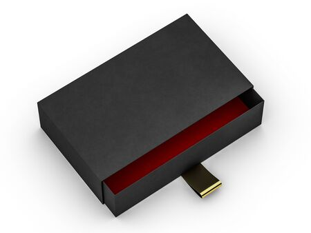 Black box mock up isolated on white background. 3D rendering