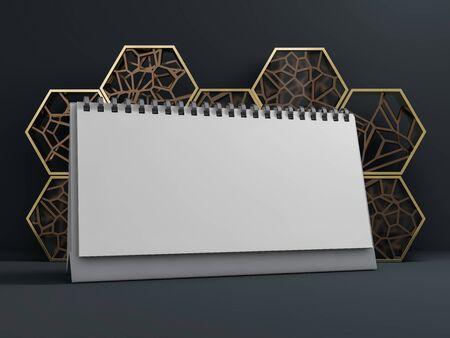 Empty desk calendar. Mockup design luxury concept. 3D rendering Reklamní fotografie