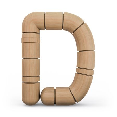 Capital letter D. Uppercase. Wooden futuristic font. Carved alphabet. 3d rendering.