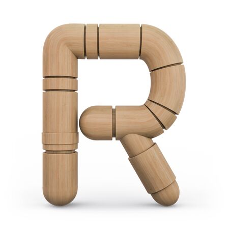 Capital letter R. Uppercase. Wooden futuristic font. Carved alphabet. 3d rendering.