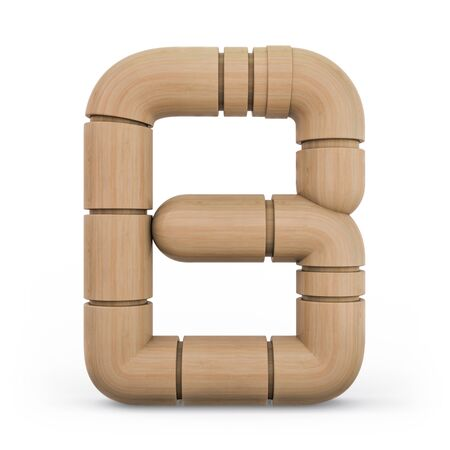 Number 8. Digital sign. Wooden futuristic font. Carved alphabet 3d rendering