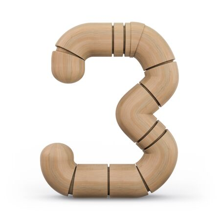 Number 3. Digital sign. Wooden futuristic font. Carved alphabet 3d rendering