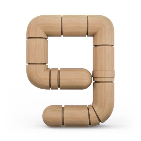 Number 9. Digital sign. Wooden futuristic font. Carved alphabet 3d rendering Banco de Imagens