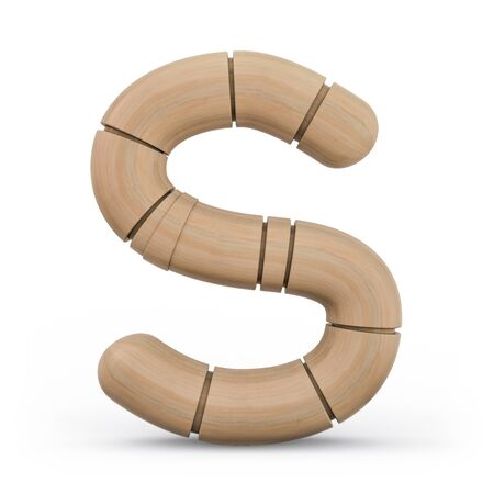 Capital letter S. Uppercase. Wooden futuristic font. Carved alphabet. 3d rendering.