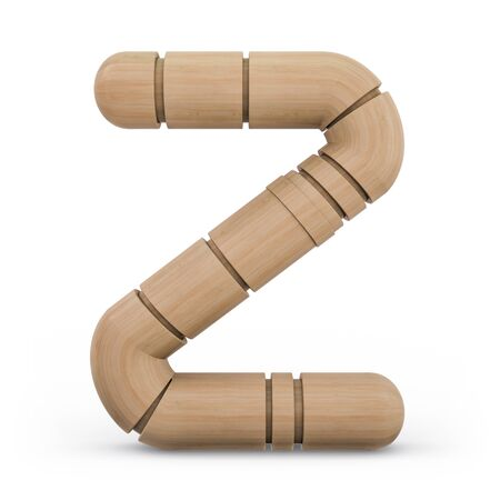 Capital letter Z. Uppercase. Wooden futuristic font. Carved alphabet. 3d rendering.