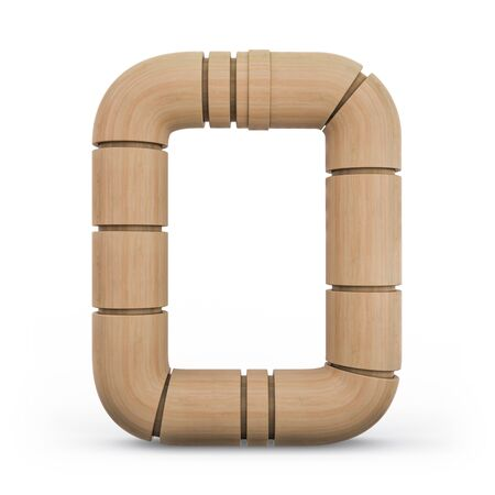 Number 0. Digital sign. Wooden futuristic font. Carved alphabet 3d rendering